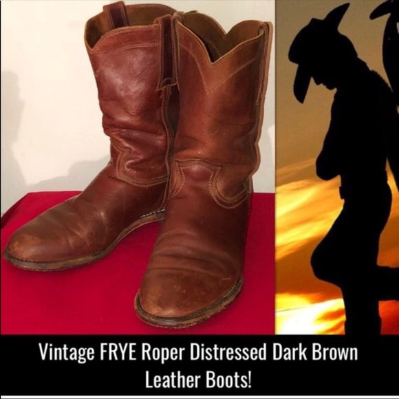 Frye Other - Vintage Frye Roper Distressed Brown Leather Boots!